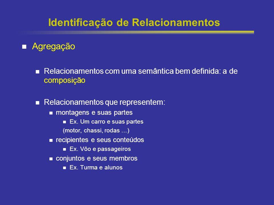 39 Identificação de Relacionamentos Agregação Relacionamentos com uma semântica bem definida: a de composição Relacionamentos que representem: montagens e suas partes Ex.