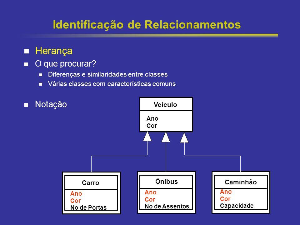 41 Identificação de Relacionamentos Herança O que procurar? Diferenças e similaridades entre classes Várias classes com características comuns Notação