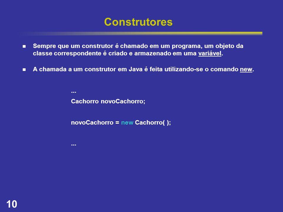 10 Construtores Sempre que um construtor é chamado em um programa, um objeto da classe correspondente é criado e armazenado em uma variável. A chamada