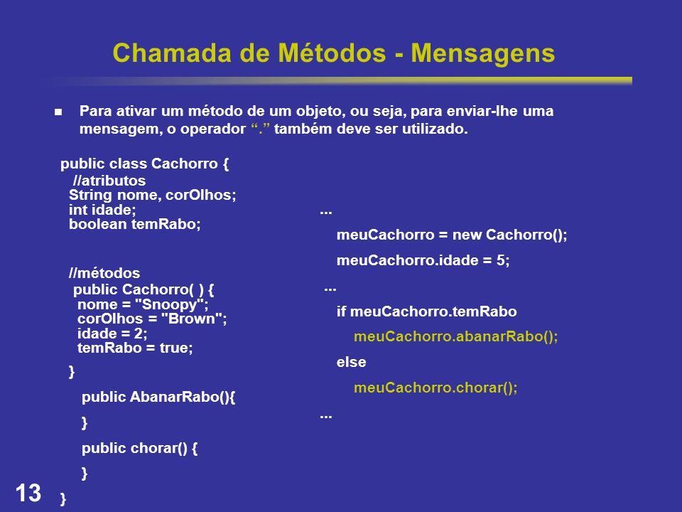 13 Chamada de Métodos - Mensagens Para ativar um método de um objeto, ou seja, para enviar-lhe uma mensagem, o operador. também deve ser utilizado. pu