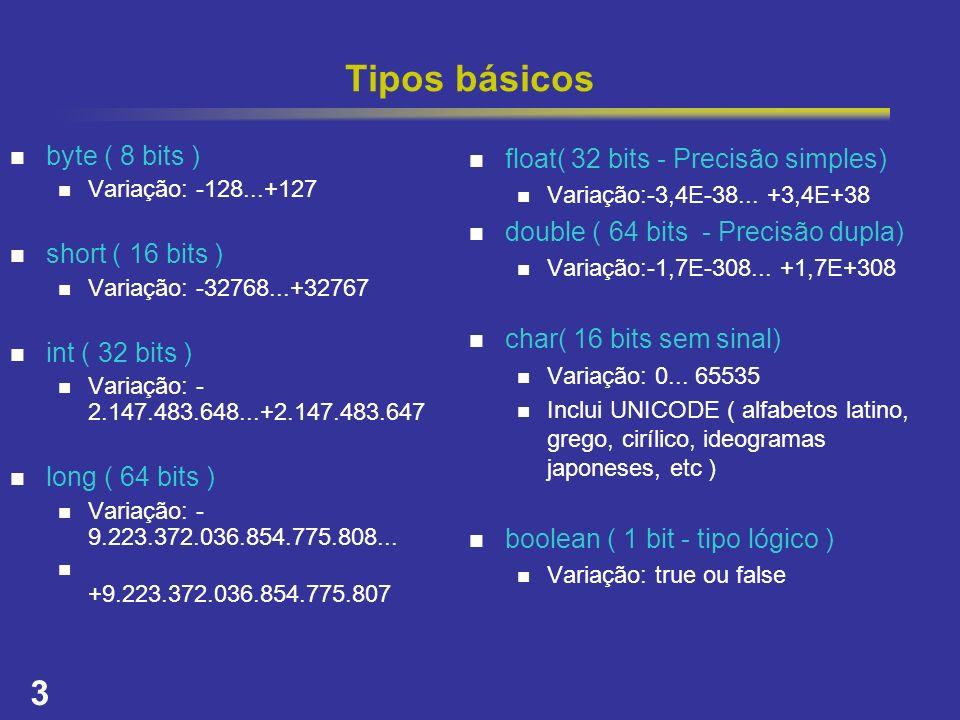 3 Tipos básicos byte ( 8 bits ) Variação: -128...+127 short ( 16 bits ) Variação: -32768...+32767 int ( 32 bits ) Variação: - 2.147.483.648...+2.147.4
