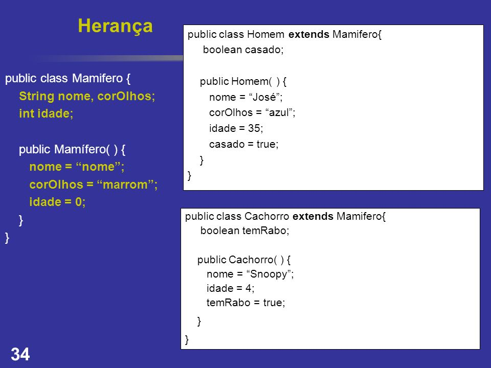 34 Herança public class Homem extends Mamifero{ boolean casado; public Homem( ) { nome = José; corOlhos = azul; idade = 35; casado = true; } public cl