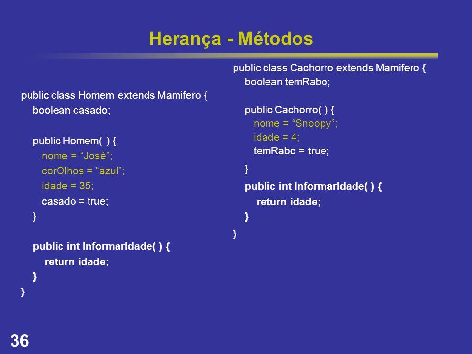 36 Herança - Métodos public class Homem extends Mamifero { boolean casado; public Homem( ) { nome = José; corOlhos = azul; idade = 35; casado = true;