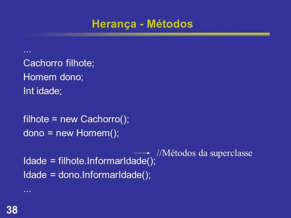 38 Herança - Métodos... Cachorro filhote; Homem dono; Int idade; filhote = new Cachorro(); dono = new Homem(); Idade = filhote.InformarIdade(); Idade