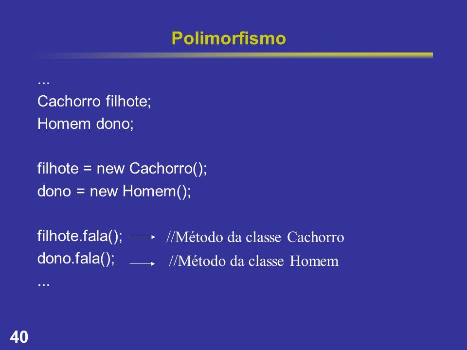 40 Polimorfismo... Cachorro filhote; Homem dono; filhote = new Cachorro(); dono = new Homem(); filhote.fala(); dono.fala();... //Método da classe Cach
