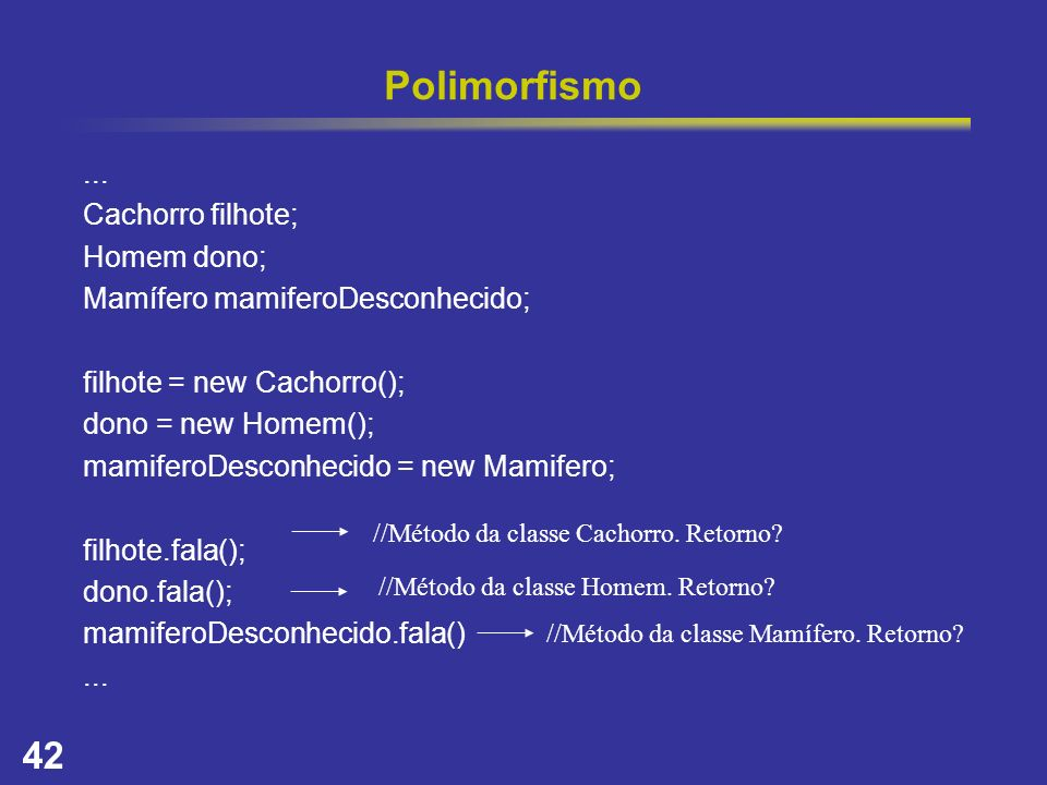 42 Polimorfismo... Cachorro filhote; Homem dono; Mamífero mamiferoDesconhecido; filhote = new Cachorro(); dono = new Homem(); mamiferoDesconhecido = n