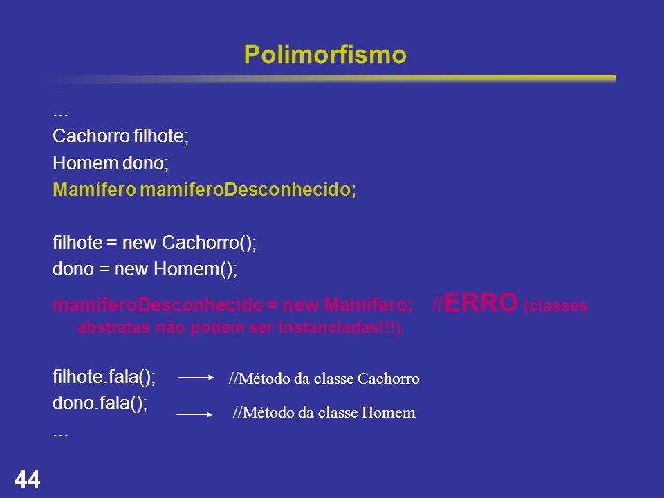 44 Polimorfismo... Cachorro filhote; Homem dono; Mamífero mamiferoDesconhecido; filhote = new Cachorro(); dono = new Homem(); mamiferoDesconhecido = n