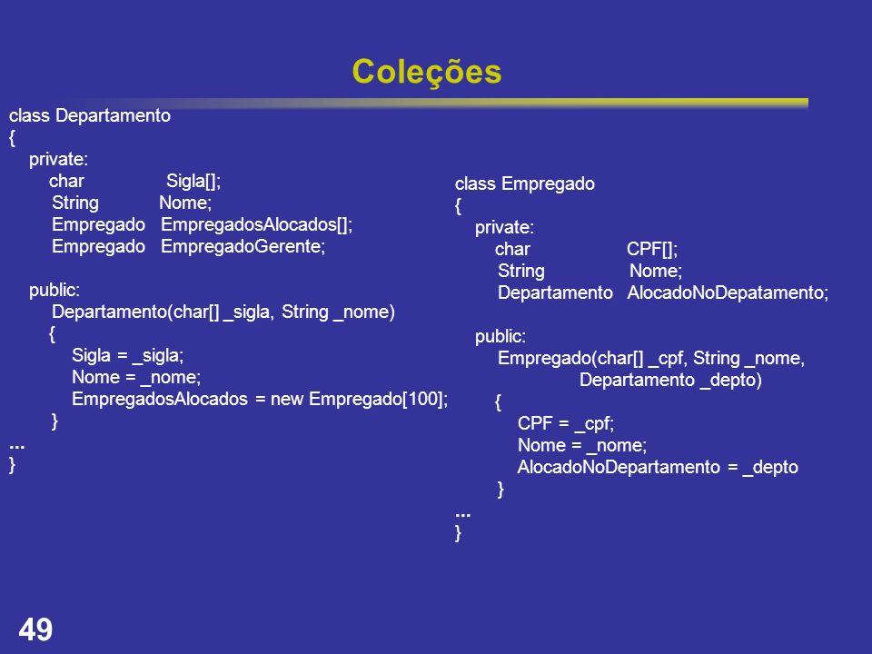 49 Coleções class Departamento { private: char Sigla[]; String Nome; Empregado EmpregadosAlocados[]; Empregado EmpregadoGerente; public: Departamento(