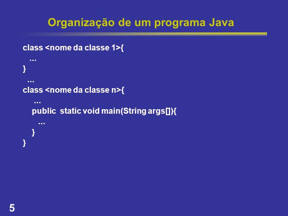 5 Organização de um programa Java class {... }... class {... public static void main(String args[]){... }