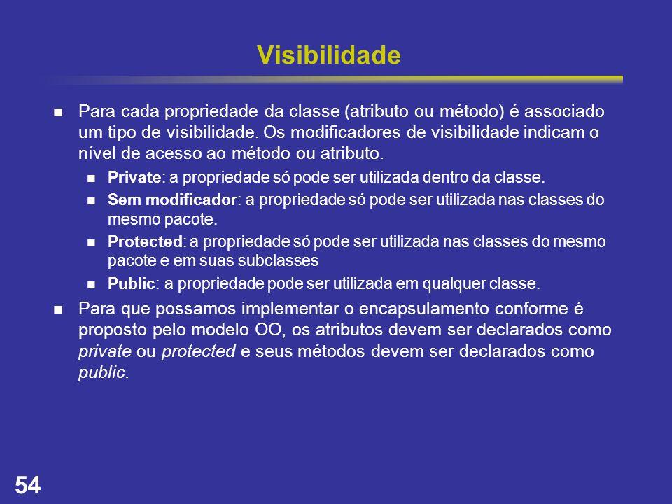54 Visibilidade Para cada propriedade da classe (atributo ou método) é associado um tipo de visibilidade. Os modificadores de visibilidade indicam o n