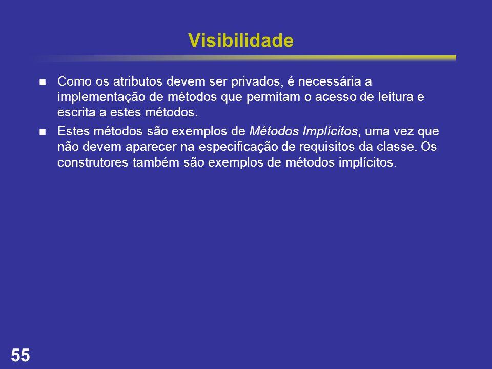 55 Visibilidade Como os atributos devem ser privados, é necessária a implementação de métodos que permitam o acesso de leitura e escrita a estes métod