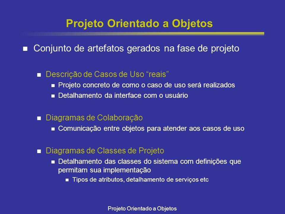 Projeto Orientado a Objetos Conjunto de artefatos gerados na fase de projeto Descrição de Casos de Uso reais Projeto concreto de como o caso de uso se