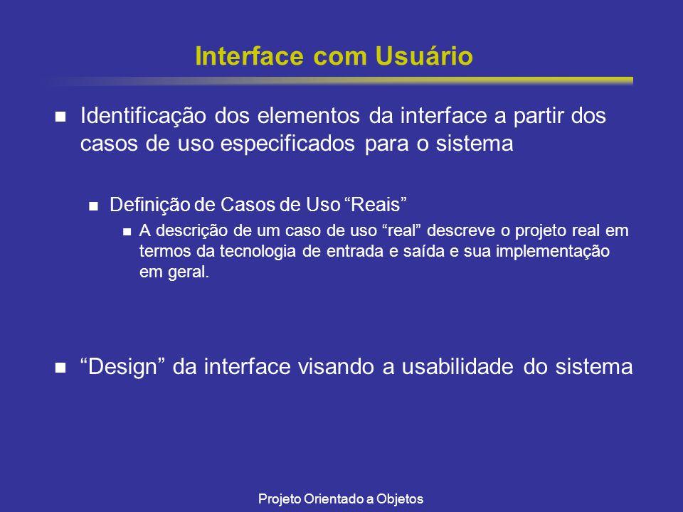 Projeto Orientado a Objetos Interface com Usuário Identificação dos elementos da interface a partir dos casos de uso especificados para o sistema Definição de Casos de Uso Reais A descrição de um caso de uso real descreve o projeto real em termos da tecnologia de entrada e saída e sua implementação em geral.