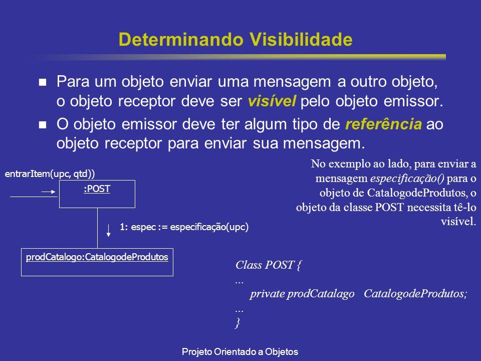 Projeto Orientado a Objetos Determinando Visibilidade Para um objeto enviar uma mensagem a outro objeto, o objeto receptor deve ser visível pelo objeto emissor.