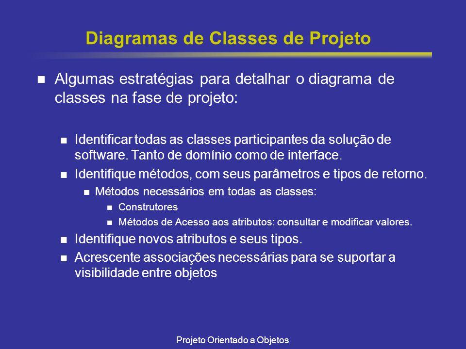 Projeto Orientado a Objetos Diagramas de Classes de Projeto Algumas estratégias para detalhar o diagrama de classes na fase de projeto: Identificar to