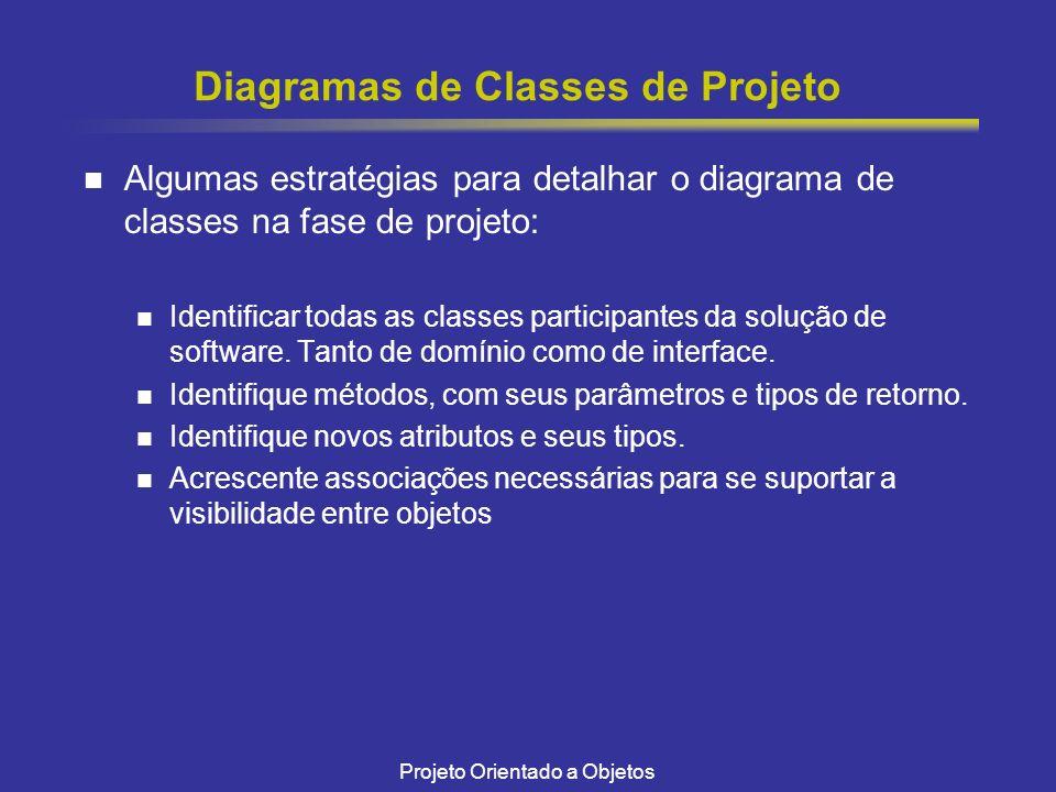 Projeto Orientado a Objetos Diagramas de Classes de Projeto Algumas estratégias para detalhar o diagrama de classes na fase de projeto: Identificar todas as classes participantes da solução de software.