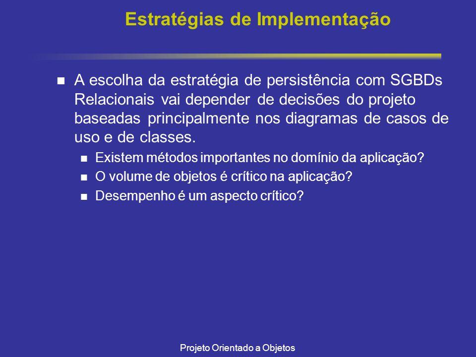 Projeto Orientado a Objetos Estratégias de Implementação A escolha da estratégia de persistência com SGBDs Relacionais vai depender de decisões do projeto baseadas principalmente nos diagramas de casos de uso e de classes.