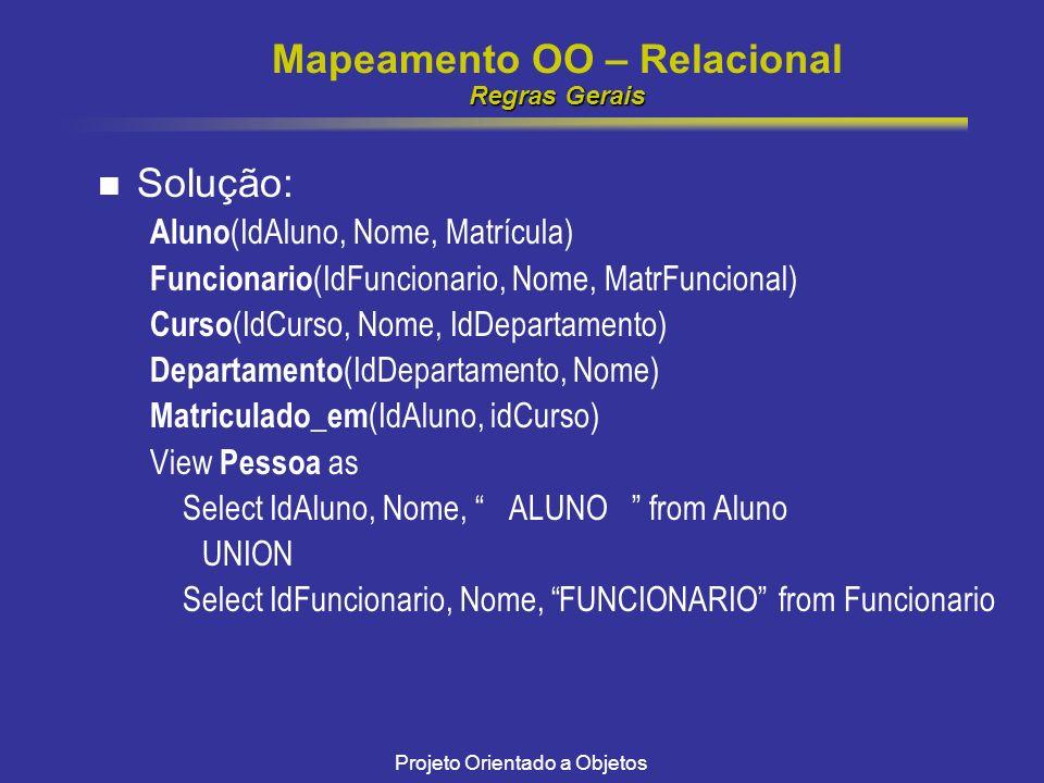 Projeto Orientado a Objetos Regras Gerais Mapeamento OO – Relacional Regras Gerais Solução: Aluno (IdAluno, Nome, Matrícula) Funcionario (IdFuncionario, Nome, MatrFuncional) Curso (IdCurso, Nome, IdDepartamento) Departamento (IdDepartamento, Nome) Matriculado_em (IdAluno, idCurso) View Pessoa as Select IdAluno, Nome, ALUNO from Aluno UNION Select IdFuncionario, Nome, FUNCIONARIO from Funcionario