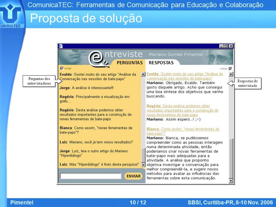ComunicaTEC: Ferramentas de Comunicação para Educação e Colaboração Pimentel10 / 12SBSI, Curitiba-PR, 8-10 Nov. 2006 Proposta de solução Respostas do