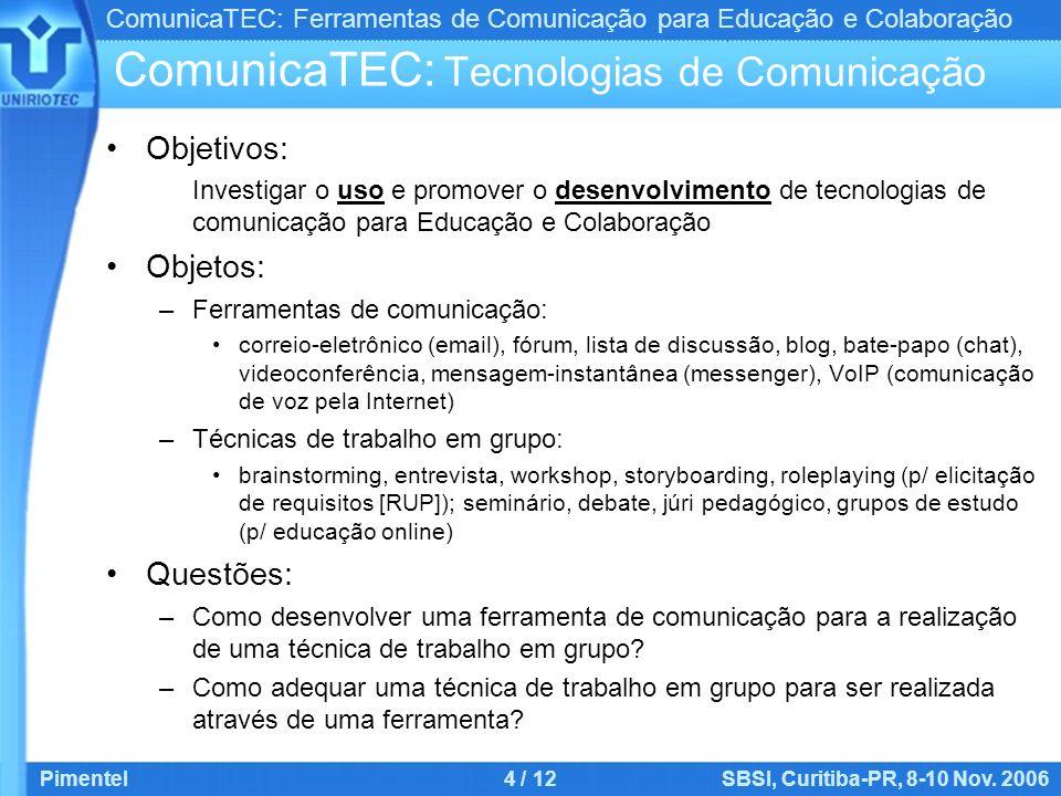ComunicaTEC: Ferramentas de Comunicação para Educação e Colaboração Pimentel4 / 12SBSI, Curitiba-PR, 8-10 Nov. 2006 ComunicaTEC: Tecnologias de Comuni