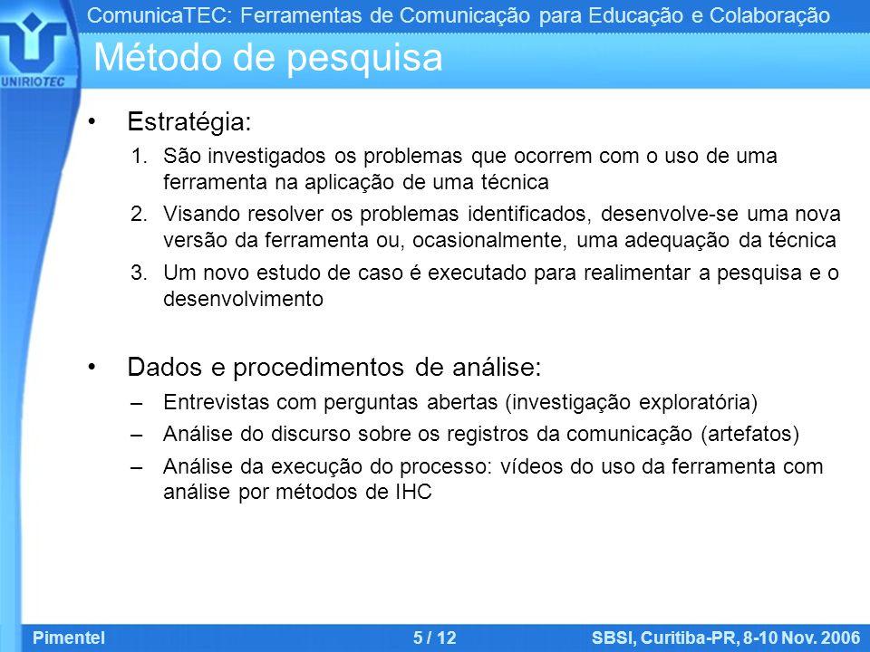 ComunicaTEC: Ferramentas de Comunicação para Educação e Colaboração Pimentel5 / 12SBSI, Curitiba-PR, 8-10 Nov. 2006 Método de pesquisa Estratégia: 1.S