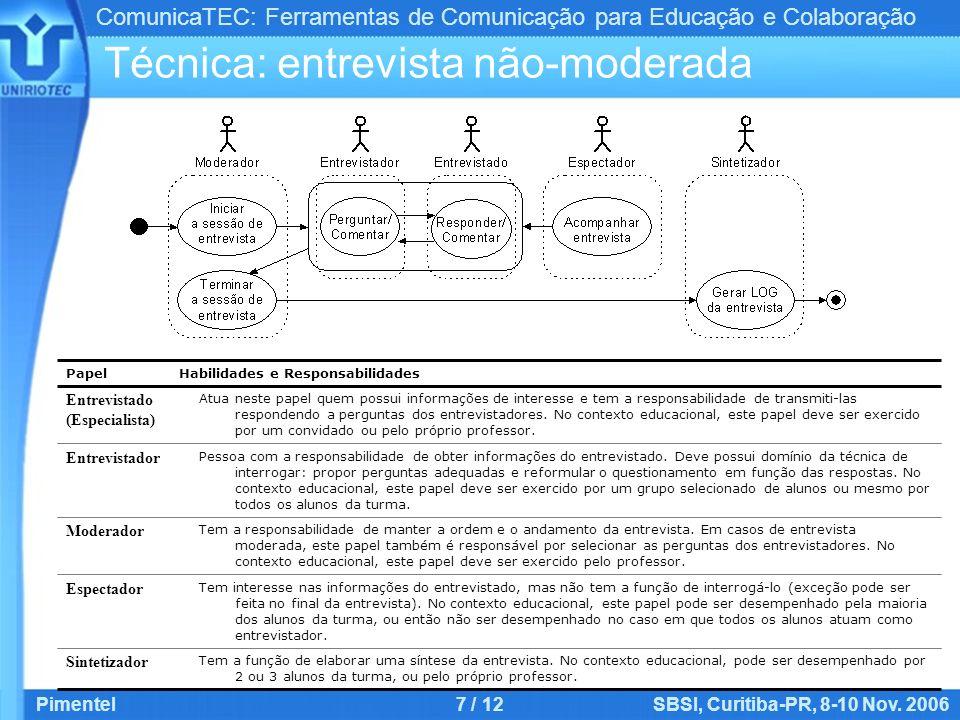ComunicaTEC: Ferramentas de Comunicação para Educação e Colaboração Pimentel7 / 12SBSI, Curitiba-PR, 8-10 Nov. 2006 Técnica: entrevista não-moderada T