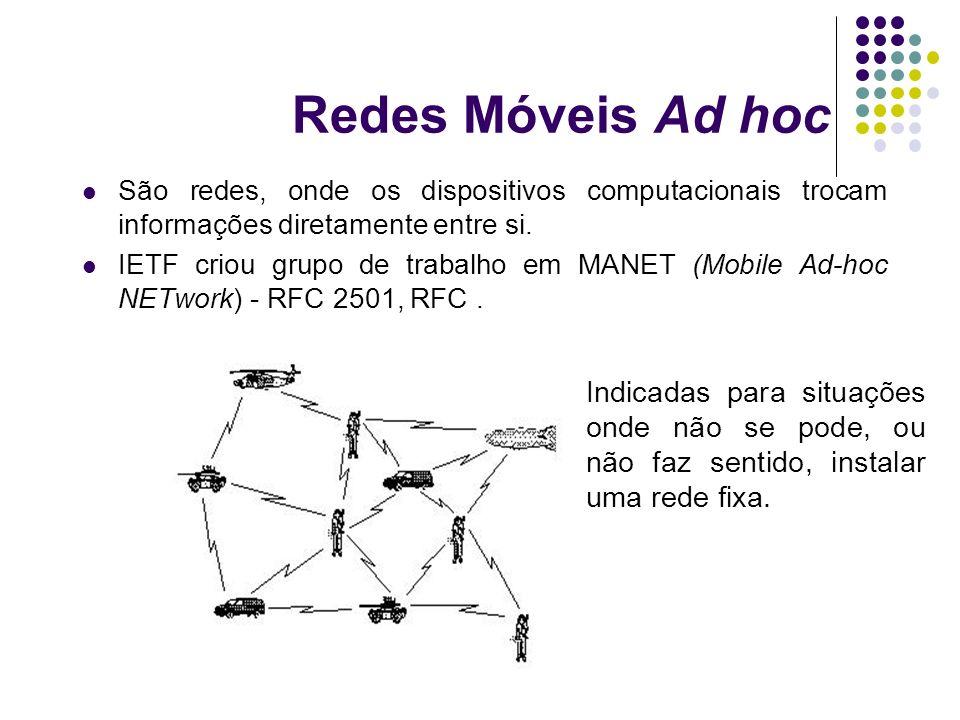 Redes Móveis Ad hoc São redes, onde os dispositivos computacionais trocam informações diretamente entre si. IETF criou grupo de trabalho em MANET (Mob