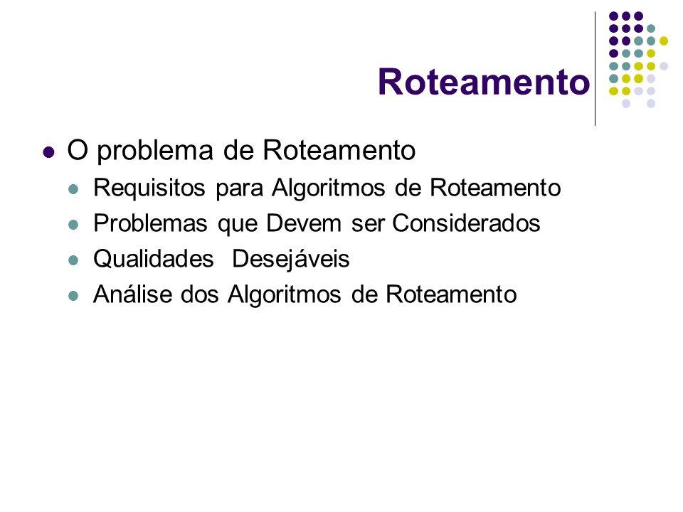 Roteamento O problema de Roteamento Requisitos para Algoritmos de Roteamento Problemas que Devem ser Considerados Qualidades Desejáveis Análise dos Al