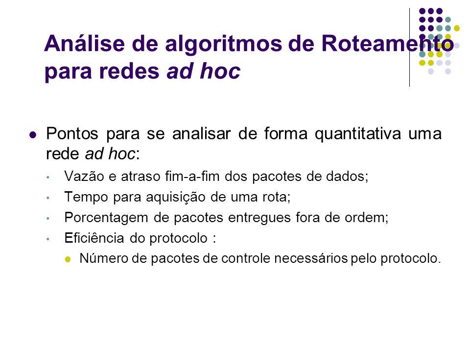 Análise de algoritmos de Roteamento para redes ad hoc Pontos para se analisar de forma quantitativa uma rede ad hoc: Vazão e atraso fim-a-fim dos paco