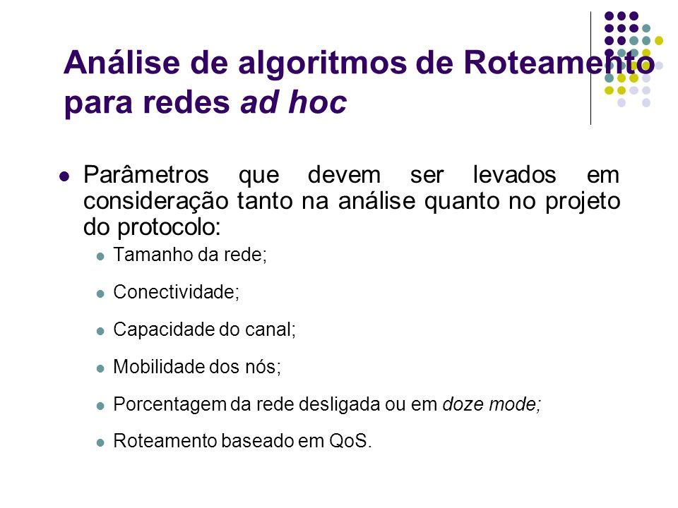 Análise de algoritmos de Roteamento para redes ad hoc Parâmetros que devem ser levados em consideração tanto na análise quanto no projeto do protocolo