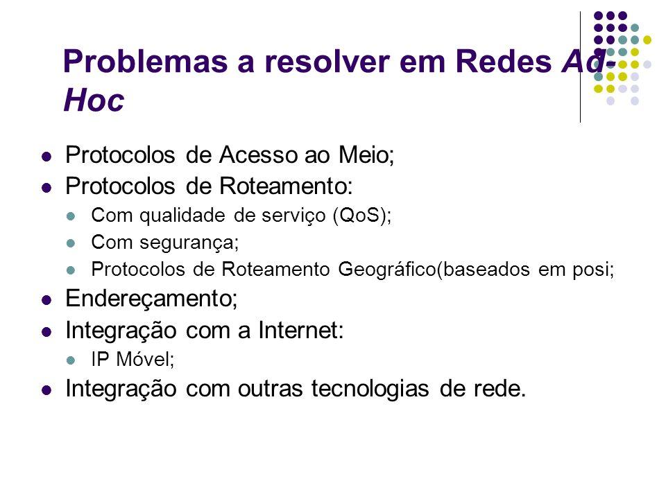 Problemas a resolver em Redes Ad- Hoc Protocolos de Acesso ao Meio; Protocolos de Roteamento: Com qualidade de serviço (QoS); Com segurança; Protocolo