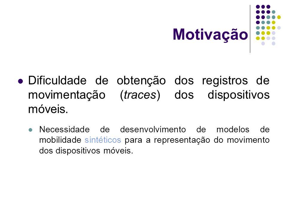Motivação Dificuldade de obtenção dos registros de movimentação (traces) dos dispositivos móveis. Necessidade de desenvolvimento de modelos de mobilid