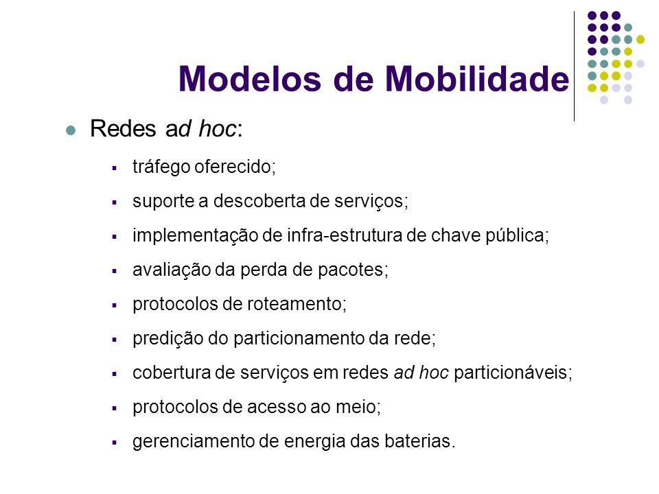 Modelos de Mobilidade Redes ad hoc: tráfego oferecido; suporte a descoberta de serviços; implementação de infra-estrutura de chave pública; avaliação