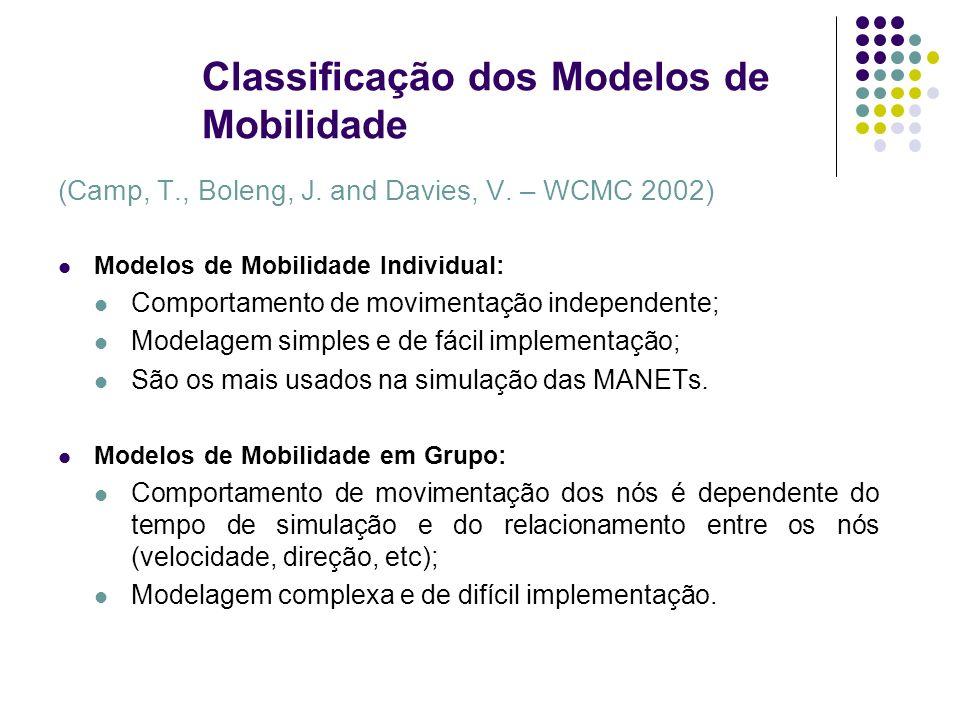 Classificação dos Modelos de Mobilidade (Camp, T., Boleng, J. and Davies, V. – WCMC 2002) Modelos de Mobilidade Individual: Comportamento de movimenta