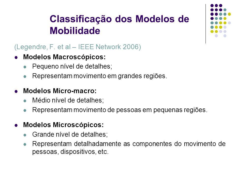 Classificação dos Modelos de Mobilidade (Legendre, F. et al – IEEE Network 2006) Modelos Macroscópicos: Pequeno nível de detalhes; Representam movimen