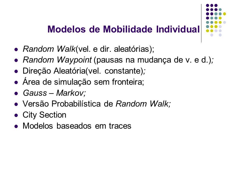 Modelos de Mobilidade Individual Random Walk(vel. e dir. aleatórias); Random Waypoint (pausas na mudança de v. e d.); Direção Aleatória(vel. constante