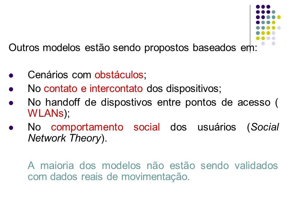 Outros modelos estão sendo propostos baseados em: Cenários com obstáculos; No contato e intercontato dos dispositivos; No handoff de dispostivos entre