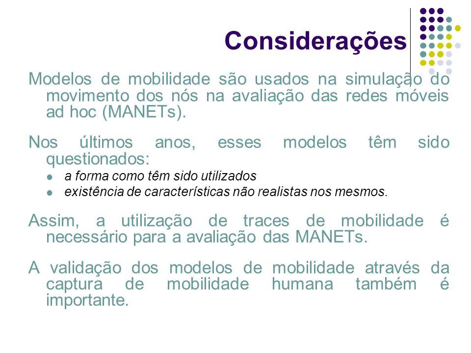 Considerações Modelos de mobilidade são usados na simulação do movimento dos nós na avaliação das redes móveis ad hoc (MANETs). Nos últimos anos, esse