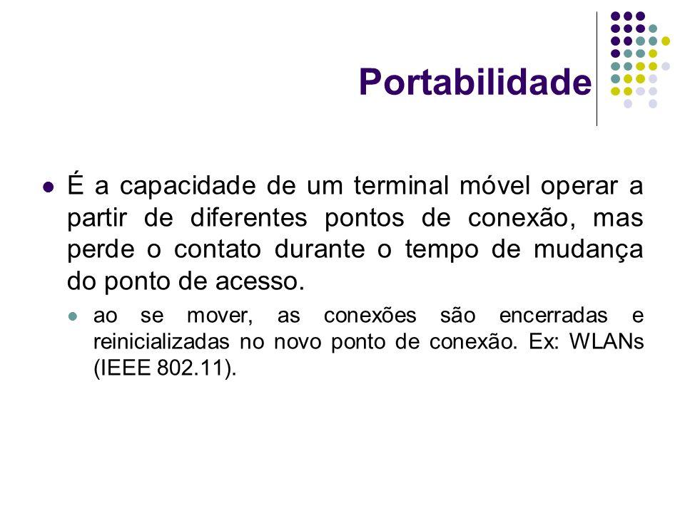 Portabilidade É a capacidade de um terminal móvel operar a partir de diferentes pontos de conexão, mas perde o contato durante o tempo de mudança do p