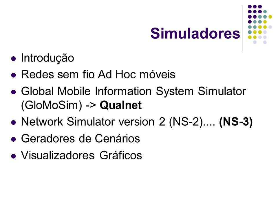Introdução Redes sem fio Ad Hoc móveis Global Mobile Information System Simulator (GloMoSim) -> Qualnet Network Simulator version 2 (NS-2).... (NS-3)