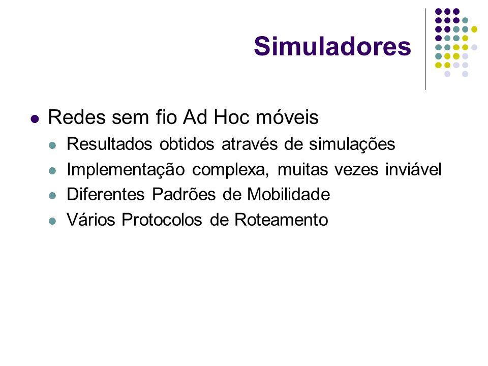 Simuladores Redes sem fio Ad Hoc móveis Resultados obtidos através de simulações Implementação complexa, muitas vezes inviável Diferentes Padrões de M