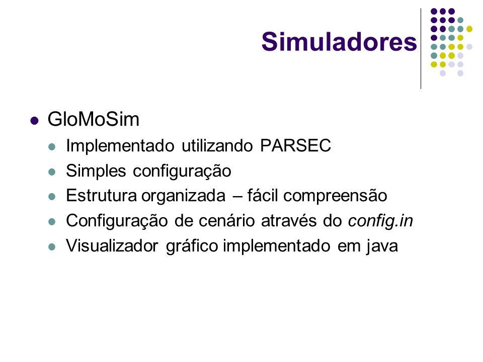 Simuladores GloMoSim Implementado utilizando PARSEC Simples configuração Estrutura organizada – fácil compreensão Configuração de cenário através do c