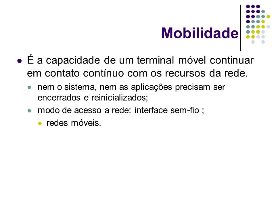 Mobilidade É a capacidade de um terminal móvel continuar em contato contínuo com os recursos da rede. nem o sistema, nem as aplicações precisam ser en