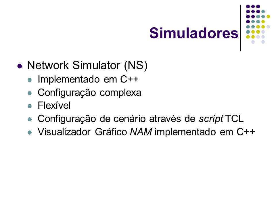 Network Simulator (NS) Implementado em C++ Configuração complexa Flexível Configuração de cenário através de script TCL Visualizador Gráfico NAM imple