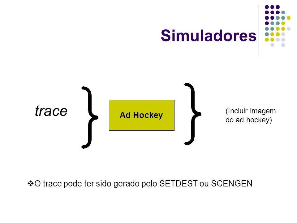 Simuladores Ad Hockey trace O trace pode ter sido gerado pelo SETDEST ou SCENGEN (Incluir imagem do ad hockey)
