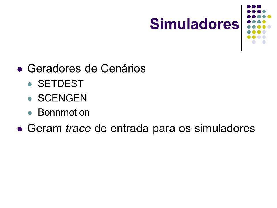 Simuladores Geradores de Cenários SETDEST SCENGEN Bonnmotion Geram trace de entrada para os simuladores