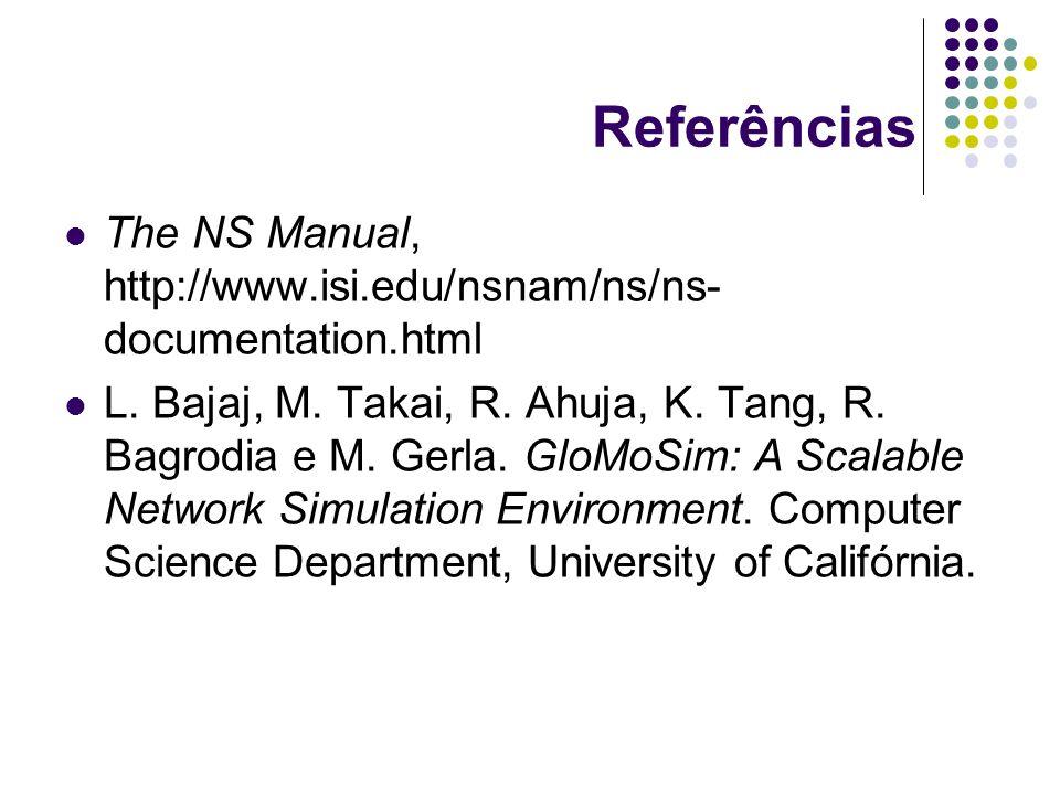 Referências The NS Manual, http://www.isi.edu/nsnam/ns/ns- documentation.html L.