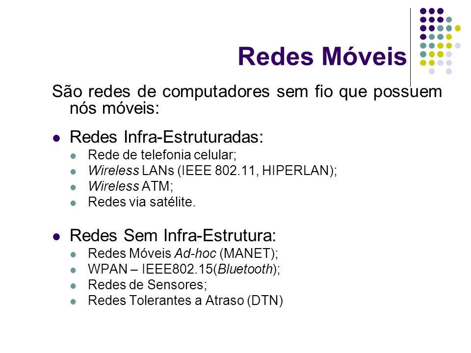 Redes Móveis São redes de computadores sem fio que possuem nós móveis: Redes Infra-Estruturadas: Rede de telefonia celular; Wireless LANs (IEEE 802.11