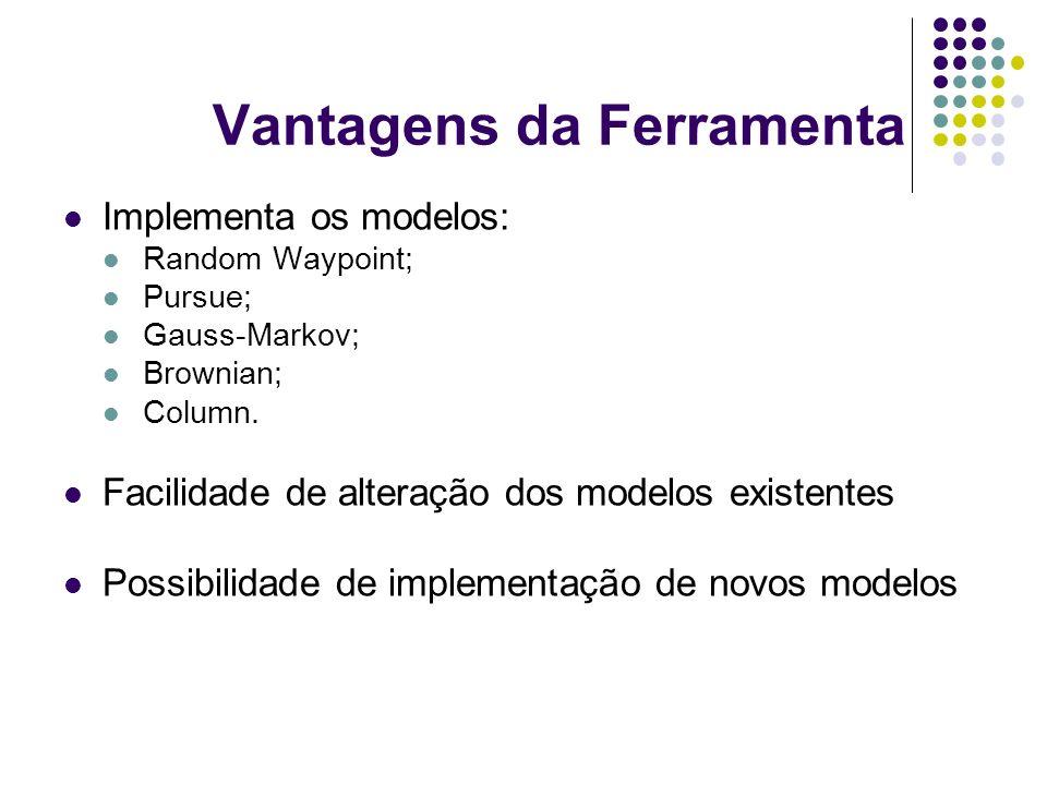 Vantagens da Ferramenta Implementa os modelos: Random Waypoint; Pursue; Gauss-Markov; Brownian; Column. Facilidade de alteração dos modelos existentes