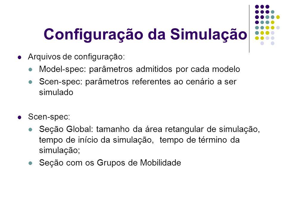 Configuração da Simulação Arquivos de configuração: Model-spec: parâmetros admitidos por cada modelo Scen-spec: parâmetros referentes ao cenário a ser